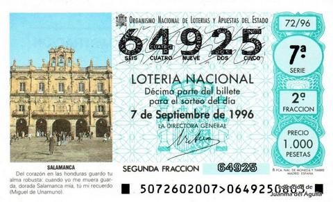Décimo de Lotería 1996 / 72