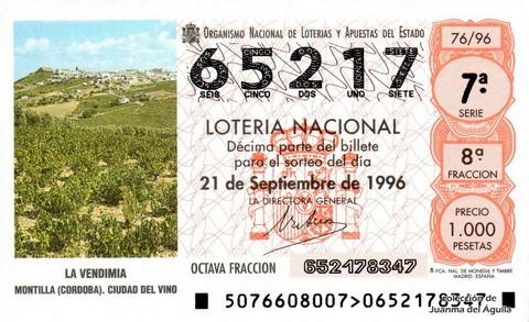 Décimo de Lotería 1996 / 76