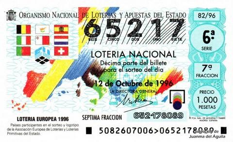 Décimo de Lotería 1996 / 82