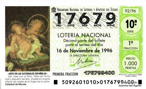 Décimo de Lotería 1996 / 92
