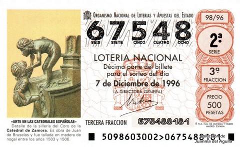 Décimo de Lotería 1996 / 98