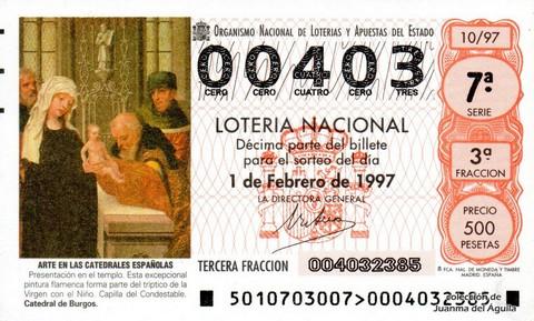 Décimo de Lotería 1997 / 10