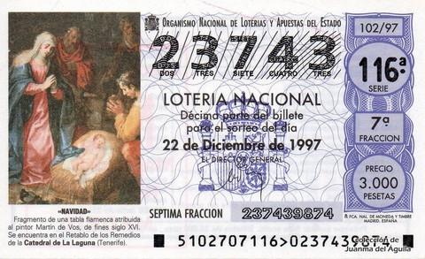 Décimo de Lotería 1997 / 102