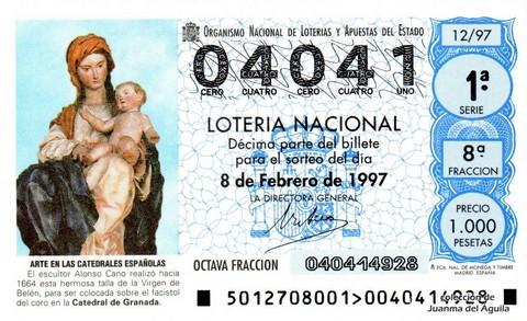 Décimo de Lotería 1997 / 12