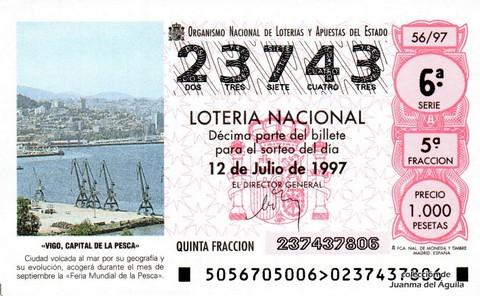 Décimo de Lotería 1997 / 56