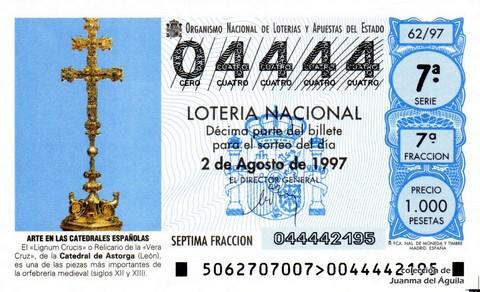 Décimo de Lotería 1997 / 62