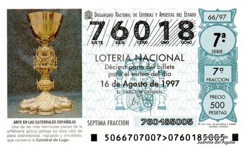 Décimo de Lotería 1997 / 66