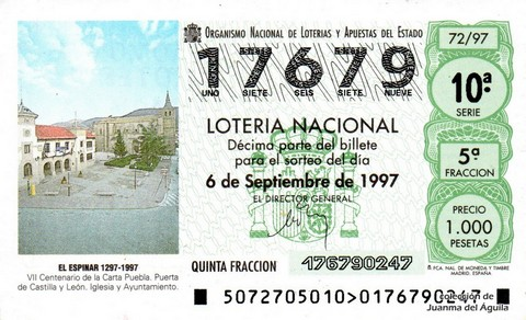 Décimo de Lotería 1997 / 72