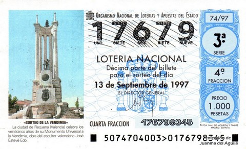 Décimo de Lotería 1997 / 74