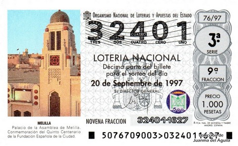 Décimo de Lotería 1997 / 76