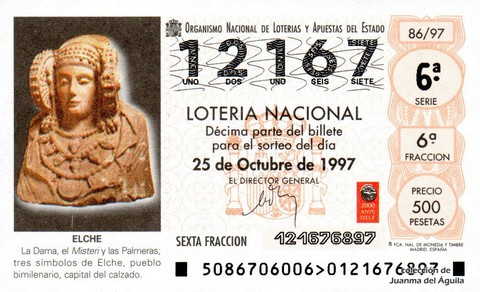 Décimo de Lotería 1997 / 86