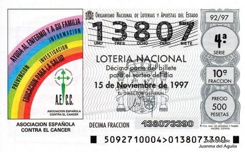 Décimo de Lotería 1997 / 92