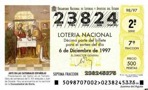 Décimo de Lotería 1997 / 98