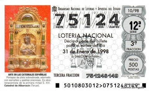 Décimo de Lotería Nacional de 1998 Sorteo 10 - <b>ARTE EN LAS CATEDRALES ESPAÑOLAS</b> - PORTAPAZ DE PLATA SOBREDORADA