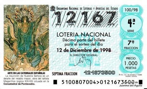 Décimo de Lotería Nacional de 1998 Sorteo 100 - <b>ARTE EN LAS CATEDRALES ESPAÑOLAS</b> - LA ASUNCIÓN DE NUESTRA SEÑORA
