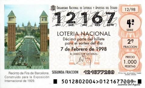 Décimo de Lotería Nacional de 1998 Sorteo 12 - Recinto de Fira de Barcelona