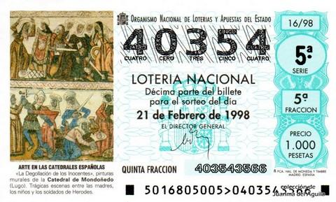 Décimo de Lotería Nacional de 1998 Sorteo 16 - <b>ARTE EN LAS CATEDRALES ESPAÑOLAS</b> - «LA DEGOLLACIÓN DE LOS INOCENTES»