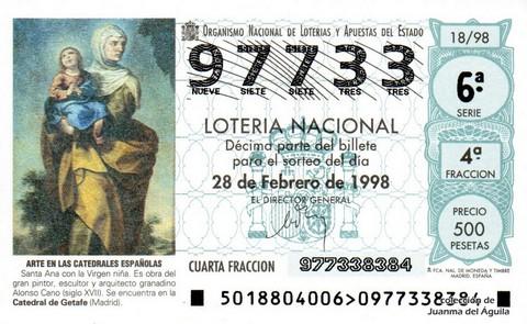 Décimo de Lotería Nacional de 1998 Sorteo 18 - <b>ARTE EN LAS CATEDRALES ESPAÑOLAS</b> - SANTA ANA CON LA VIRGEN NIÑA