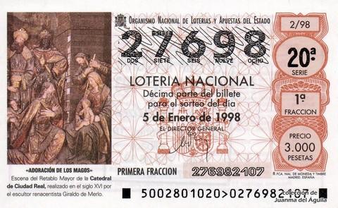Décimo de Lotería Nacional de 1998 Sorteo 2 - <b>«ADORACIÓN DE LOS MAGOS</b>» - ESCENA DEL RETABLO MAYOR DE LA CATEDRAL DE CIUDAD REAL