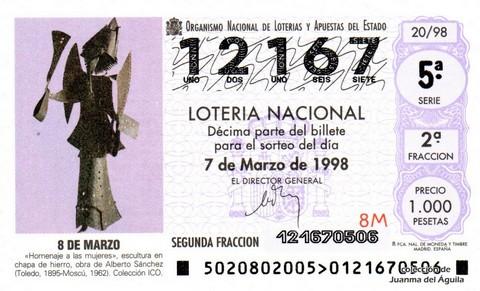 Décimo de Lotería Nacional de 1998 Sorteo 20 - <b>8 DE MARZO</b>