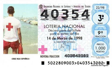Décimo de Lotería Nacional de 1998 Sorteo 22 - <b>«CRUZ ROJA ESPAÑOLA»</b>