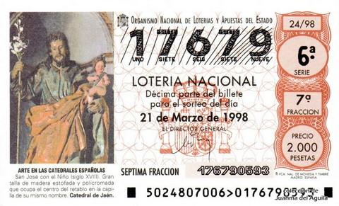 Décimo de Lotería Nacional de 1998 Sorteo 24 - <b>ARTE EN LAS CATEDRALES ESPAÑOLAS</b> - SAN JOSÉ CON EL NIÑO (SIGLO XVIII)