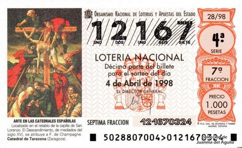 Décimo de Lotería Nacional de 1998 Sorteo 28 - <b>ARTE EN LAS CATEDRALES ESPAÑOLAS</b> - EL DESCENDIMIENTO, MEDIADOS SIGLO XVI