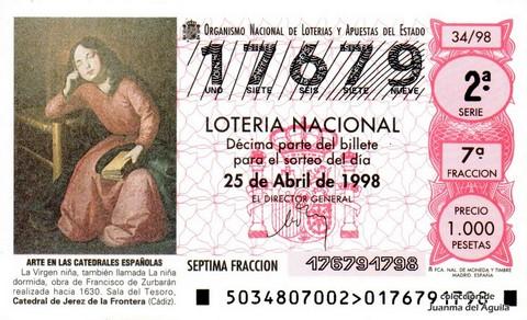 Décimo de Lotería Nacional de 1998 Sorteo 34 - <b>ARTE EN LAS CATEDRALES ESPAÑOLAS</b> - LA VIRGEN NIÑA