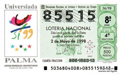 Décimo de Lotería Nacional de 1998 Sorteo 36 - <b>Universiada PALMA</b>