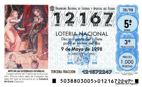 Décimo de Lotería Nacional de 1998 Sorteo 38 - <b>ARTE EN LAS CATEDRALES ESPAÑOLAS</b> - CUERPO CENTRAL DEL TRÍPTICO DE LA ANUNCIACIÓN