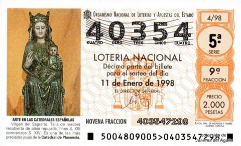Décimo de Lotería Nacional de 1998 Sorteo 4 - <b>ARTE EN LAS CATEDRALES ESPAÑOLAS</b> - VIRGEN DEL SAGRARIO