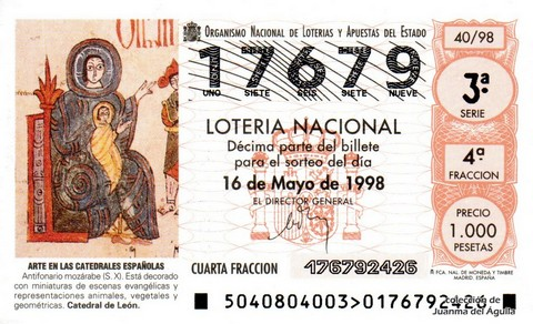 Décimo de Lotería Nacional de 1998 Sorteo 40 - <b>ARTE EN LAS CATEDRALES ESPAÑOLAS</b> - ANTIFONARIO MOZÁRABE (S. X)