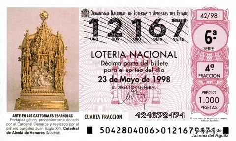 Décimo de Lotería Nacional de 1998 Sorteo 42 - <b>ARTE EN LAS CATEDRALES ESPAÑOLAS</b> - PORTAPAZ GÓTICO