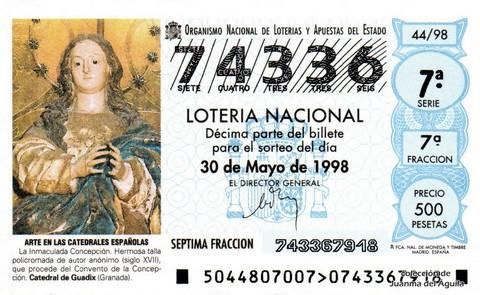 Décimo de Lotería Nacional de 1998 Sorteo 44 - <b>ARTE EN LAS CATEDRALES ESPAÑOLAS</b> - LA INMACULADA CONCEPCIÓN (SIGLO XVII)