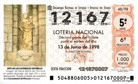 Décimo de Lotería Nacional de 1998 Sorteo 48 - <b>ARTE EN LAS CATEDRALES ESPAÑOLAS</b> - IMAGEN DE SANTA MARÍA DEL ROMERAL