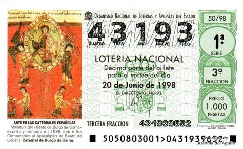 Décimo de Lotería Nacional de 1998 Sorteo 50 - <b>ARTE EN LAS CATEDRALES ESPAÑOLAS</b> - MINIATURA DEL «BEATO DE BURGO DE OSMA»