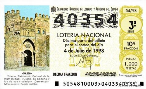 Décimo de Lotería Nacional de 1998 Sorteo 54 - <b>«TOLEDO»</b>