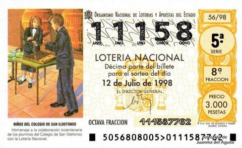 Décimo de Lotería Nacional de 1998 Sorteo 56 - <b>NIÑOS DEL COLEGIO DE SAN ILDEFONSO</b>
