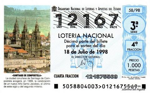 Décimo de Lotería Nacional de 1998 Sorteo 58 - <b>«SANTIAGO DE COMPOSTELA»</b>