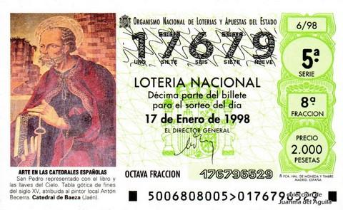 Décimo de Lotería Nacional de 1998 Sorteo 6 - <b>ARTE EN LAS CATEDRALES ESPAÑOLAS</b> - SAN PEDRO. TABLA GÓTICA DE FINES DEL S. XV