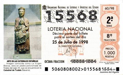 Décimo de Lotería Nacional de 1998 Sorteo 60 - <b>ARTE EN LAS CATEDRALES ESPAÑOLAS</b> - LA VIRGEN BLANCA