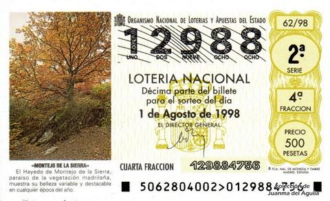 Décimo de Lotería Nacional de 1998 Sorteo 62 - <b>«MONTEJO DE LA SIERRA»</b>