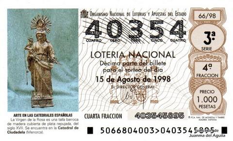 Décimo de Lotería Nacional de 1998 Sorteo 66 - <b>ARTE EN LAS CATEDRALES ESPAÑOLAS</b> - LA VIRGEN DE LA ROSA (SIGLO XVII)