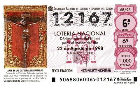 Décimo de Lotería Nacional de 1998 Sorteo 68 - <b>ARTE EN LAS CATEDRALES ESPAÑOLAS</b> - CRISTO DE LA VICTORIA (SIGLO XVI)