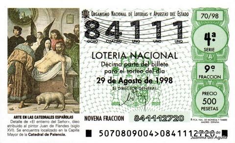 Décimo de Lotería Nacional de 1998 Sorteo 70 - <b>ARTE EN LAS CATEDRALES ESPAÑOLAS</b> - DETALLE DE «EL ENTIERRO DEL SEÑOR»
