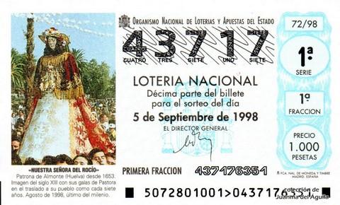 Décimo de Lotería Nacional de 1998 Sorteo 72 - <b>«NUESTRA SEÑORA DEL ROCÍO»</b>