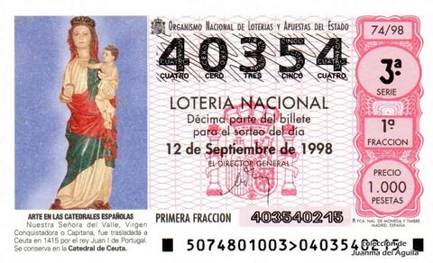 Décimo de Lotería Nacional de 1998 Sorteo 74 - <b>ARTE EN LAS CATEDRALES ESPAÑOLAS</b> - NUESTRA SEÑORA DEL VALLE