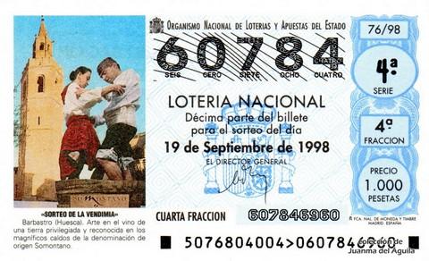 Décimo de Lotería Nacional de 1998 Sorteo 76 - <b>«SORTEO DE LA VENDIMIA»</b>