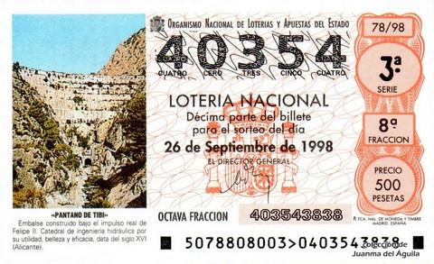Décimo de Lotería Nacional de 1998 Sorteo 78 - <b>«PANTANO DE TIBI»</b>