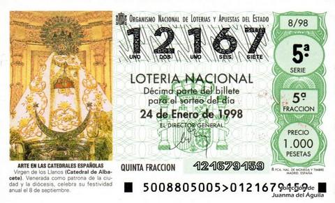 Décimo de Lotería Nacional de 1998 Sorteo 8 - <b>ARTE EN LAS CATEDRALES ESPAÑOLAS</b> - VIRGEN DE LOS LLANOS (CATEDRAL DE ALBACETE)